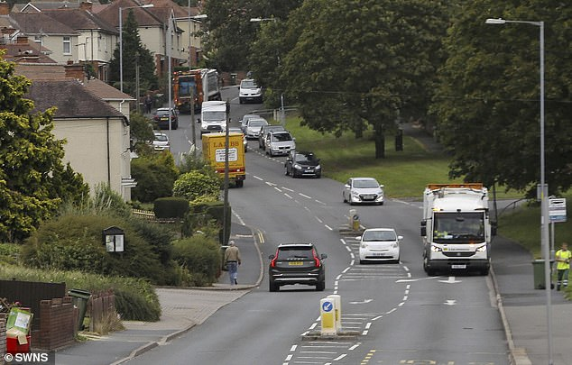 The victim was able to run away after she was approached on Tolladine Road (pictured) in Worcester between 7.50pm and 8.20pm on May 3.None of the vehicles pictured were involved in the incident
