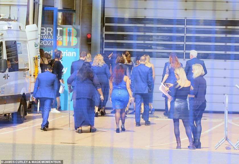 Early stages: The Brit Awards are taking place in front of a live audience of 4,000 people at London 's The O2 six days before the next phase of lockdown lifts