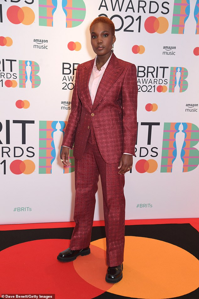 Work it: Arlo Parks ensured to put on a stylish display as she arrived at The BRIT Awards 2021 at London's the 02 Arena on Tuesday