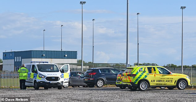 A boy is in hospital after reportedly being struck by lightning on a football field in Blackpool after police were called to School Road following reports a child had been injured