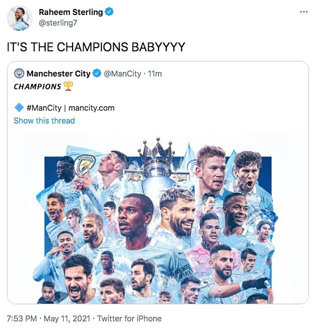 Raheem Sterling leads the celebrations after City are confirmed as Premier League champions