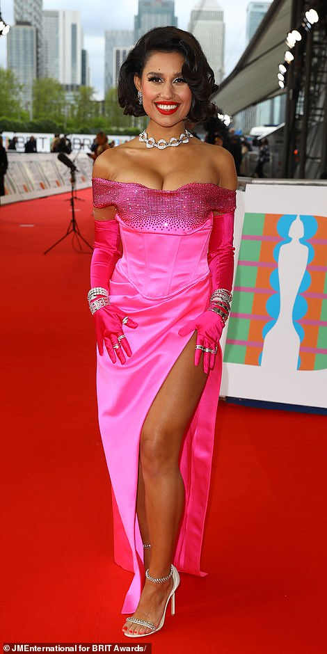 Pretty in pink! Raye looked incredible in a stunning vibrant pink corset top