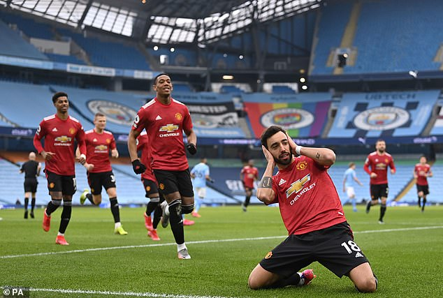 Highlights in United's season featured a 2-0 win at rivals Manchester City, with Bruno Fernandes pictured celebrating his side's second goal at the Etihad Stadium