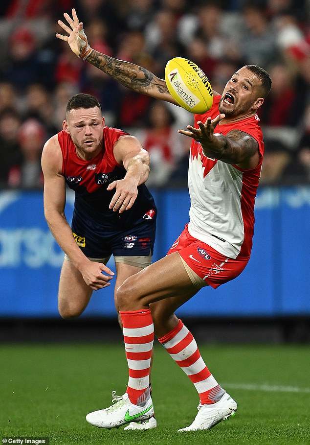 Buddy Franklin (pictured) struggled in the Swans' clash against Melbourne on Saturday at the MCG. It was the first time since 2018 that Franklin had been kept goalless