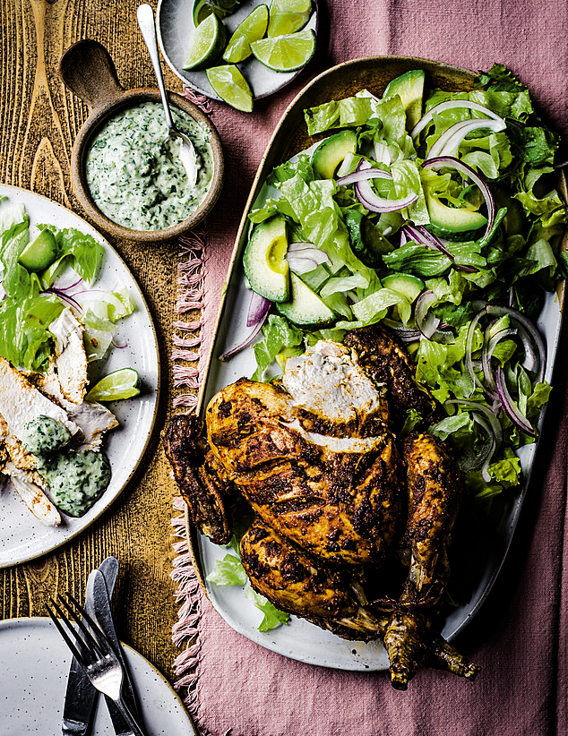 If you've resolved to shed unwanted pounds you gained during lockdown and transform your health and fitness, you'll be keen to ensure that social gatherings don't scupper your weight loss goals. Try serving healthy dishes like Peruvian chicken (pictured)