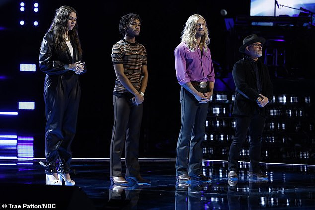 Viewer voting:The season 20 show opened with the results of viewer voting for Blake's team consisting of Anna Grace, Cam Anthony, Jordan Matthew Young and Pete Mroz