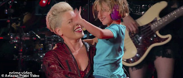 Story of our life:The trailer winds down with a number of candid shots behind-the-scenes and on the stage, as Pink adds, 'I want it to be worth it for my family. It's a concert, it's a tour, but it's also the story of our life'