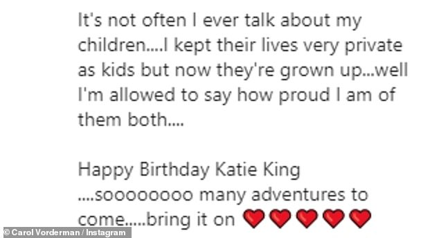 Motherhood: Carol wrote a heartfelt message to Katie on Instagram