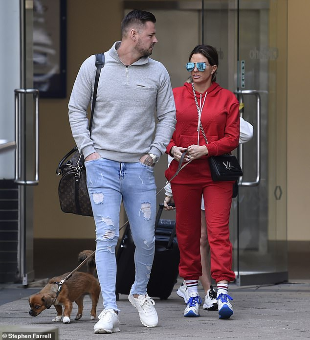 Make way:The former glamour model, 42, caught the eye in a vibrant red tracksuit as she arrived at Channel 4 studios in Leeds for another appearance on Steph's Packed Lunch