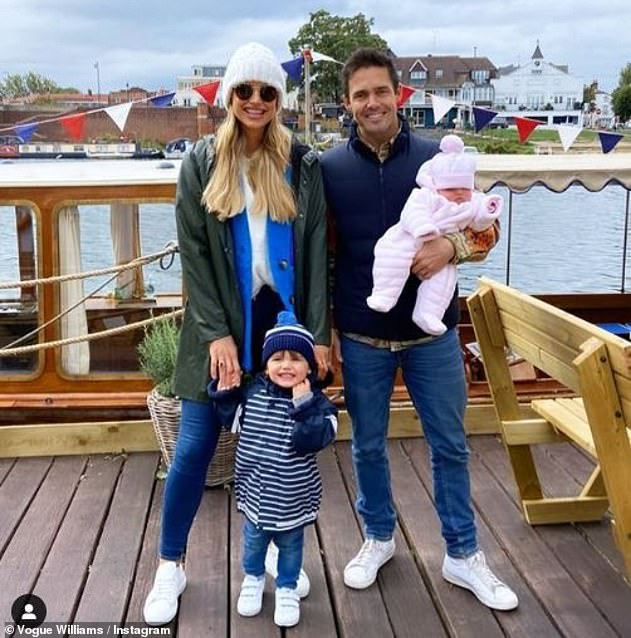 Room for three more?The outing comes after Vogue revealed that she sometimes wants five children with her husband Spencer Matthews (pictured with her children Gigi and Theodore in 2020)