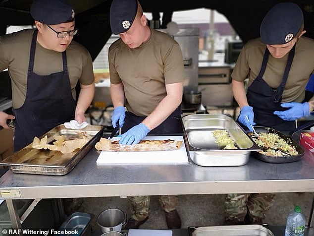 The Vegan Society have claimed soldiers are complaining about a lack of vegan options for meals - and even uniforms - in the Armed Forces. Pictured:Chefs at Royal Air Force Wittering