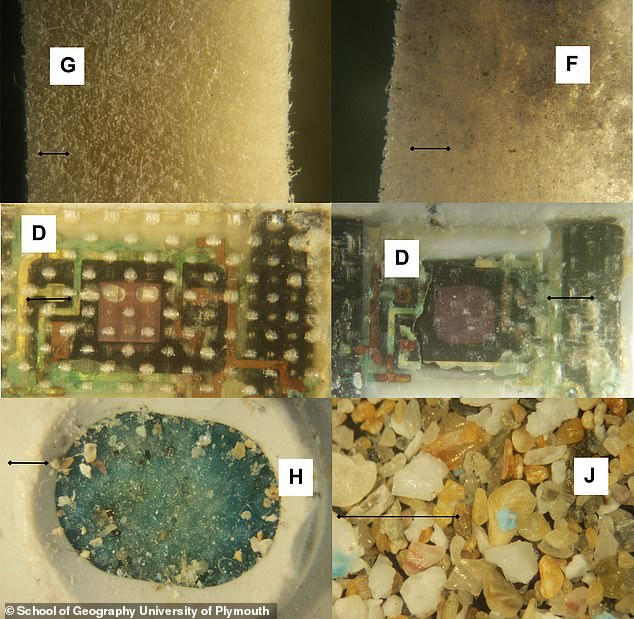 The study also investigated how fast the plastic breaks down in water. The once sturdy devices had been reduced to chalky brittle objects following their time lost at sea, which means microplastics fell off into the oceans