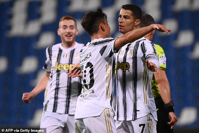 Cristiano Ronaldo (above) scored his 100th goal for Juventus on Wednesday night