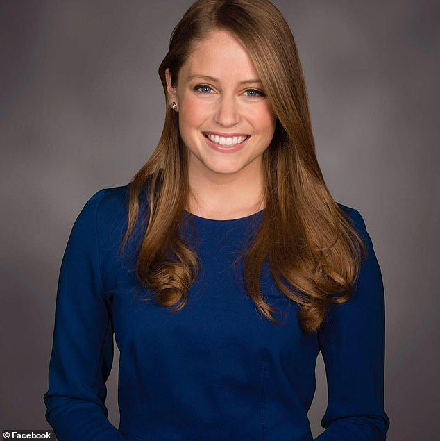 FOX 9 News meteorologist Jennifer McDermed (pictured) was caught off guard during a Tuesday night forecast when the green screen experienced technical difficulties