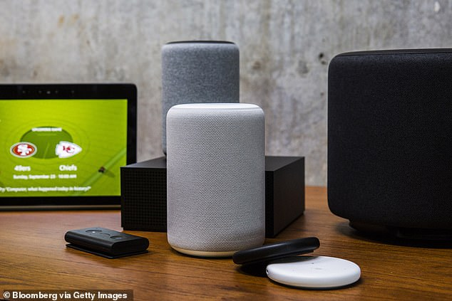 Amazon's smart devices are on display at an unveiling event at Amazon headquarters in Seattle on September 20, 2018