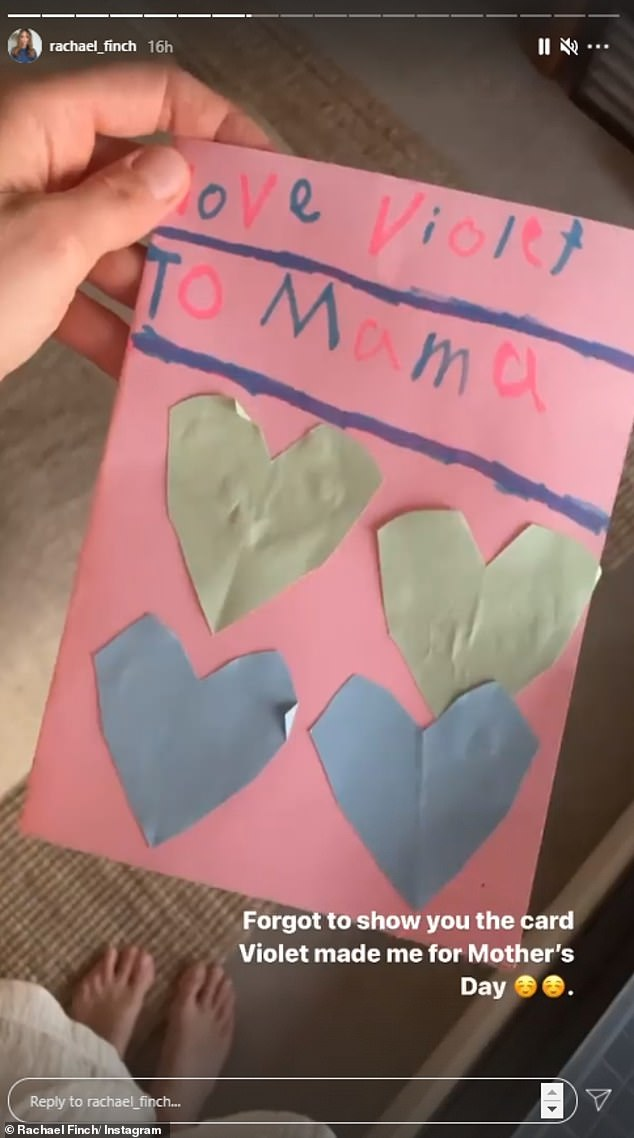 Cute!The former beauty queen, 32, shared a video of herself opening the pink note that was adorned with multicoloured hearts