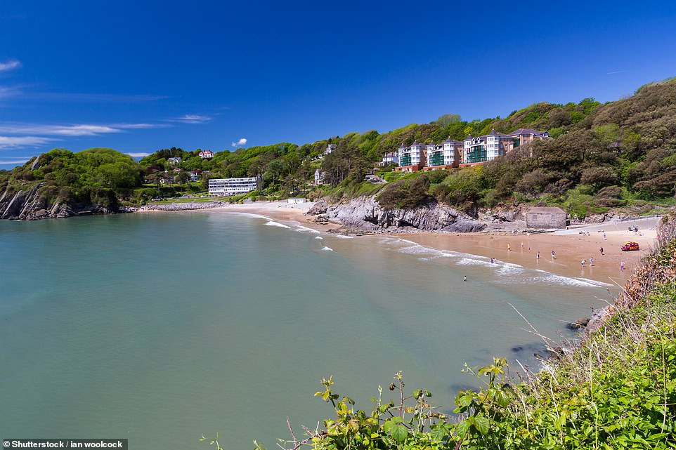 Caswell Bay Beach, pictured, is one of four Blue Flag beaches in 2021 in the Swansea area