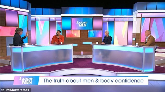 Letting loose: ITV's Loose Women was rebranded to Loose Men, with Jordan joining anchor Richard Madeley and fellow panellists Martin Kemp and Robert Rinder