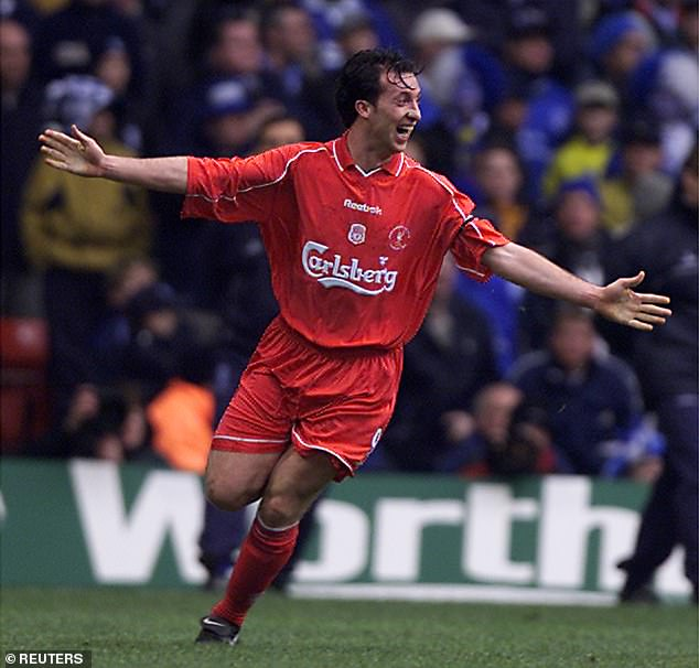 Robbie Fowler celebrating his stunning volley against Birmingham in the League Cup final