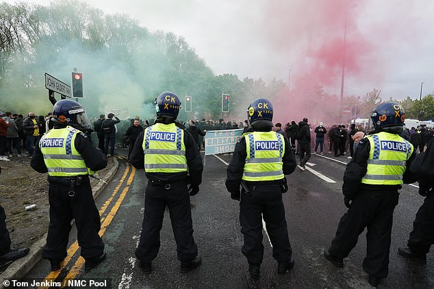 Tensions threatened to boil over at Old Trafford as Man United fans gathered in protest again