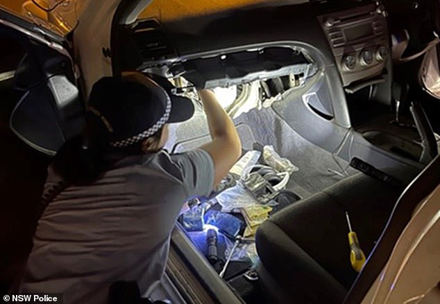 Cops searched the man's car (pictured) after pulling him over for not wearing a seatbelt in Sydney's north-west on Thursday