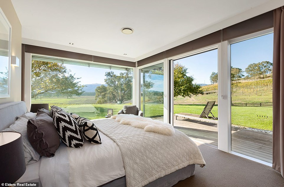 Floor-to-ceiling windows that wrap around the rear stream sunlight into every room