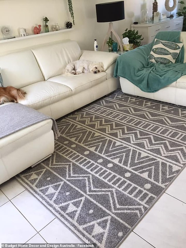 Mum Jennifer recommended the affordable rug to others on social media and placed the stylish pattered rug in her living room