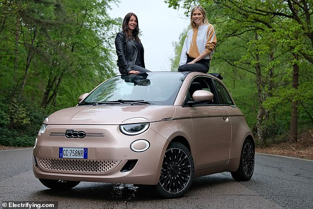 Electrifying performer: The new 500 has been named the best electric model of 2021 by pro-EV website, Electrifying.com's founder and CEO Ginny Buckley (left) and TV presenter Nicki Shields (right)