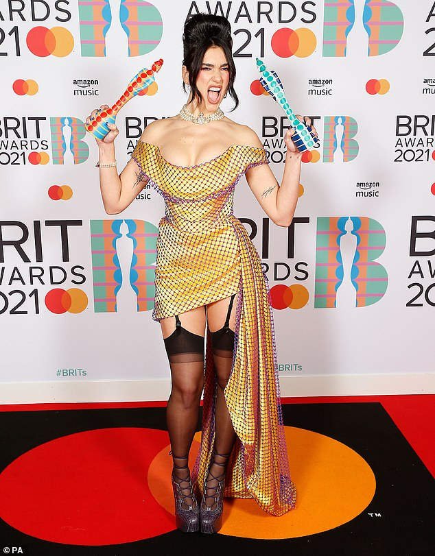 Double winner: The birthday post comes after Dua made waves at the 2021 BRIT Awards on Tuesday