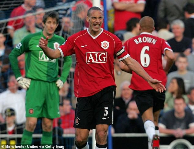Edwin van der Sar (left) clashed with Rio Ferdinand (middle) in Man United's loss at Pompey