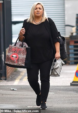 Low-key: Helen was dressed in a casual all-black ensemble consisting of an oversized t-shirt and leggings