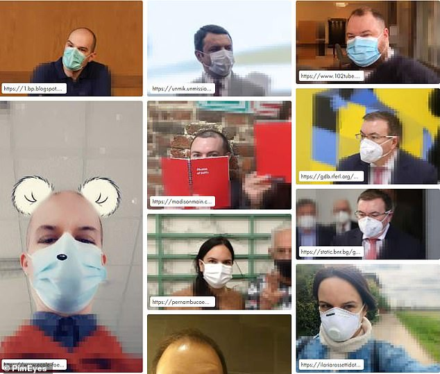 RESULTS: Although the results do not show the man in the original, PimEyes was able to produce images with people wearing masks