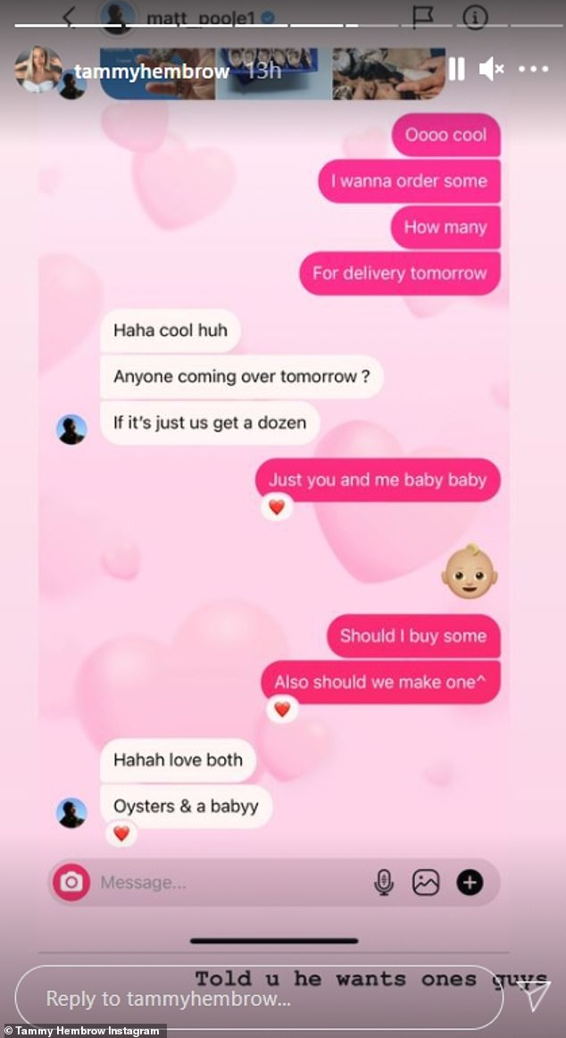 Sweet:Tammy shared a screenshot of a message exchange between the pair that discussed their family plans
