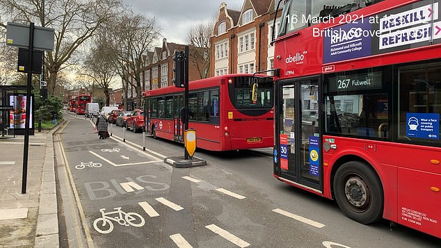 Chiswick High Road used to be three lanes wide but has gone down to two since a new, permanent bi-directional cycle lane was installed