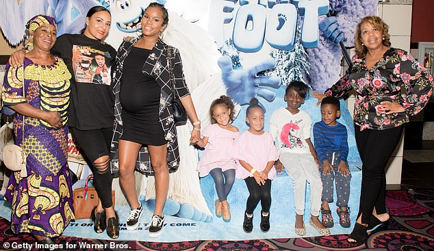 As seen in 2018: Eudoxie (second from left) is pictured in a group that includes her and Ludacris' daughter Cadence (fourth from left) and his daughter Cai (fourth from right)