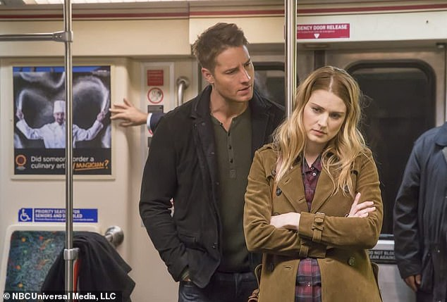 A tense scene: we see Justin Hartley chatting in a subway