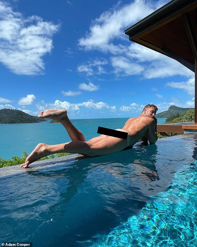 Confident:Pilates instructor and personal trainer Adam proved he wasn't shy by posting a nude picture of himself relaxing in an infinity pool