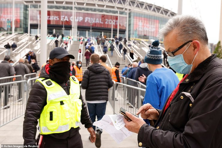 Security personnel check confirmations of negative Covid-19 tests before allowing supporters to enter Wembley
