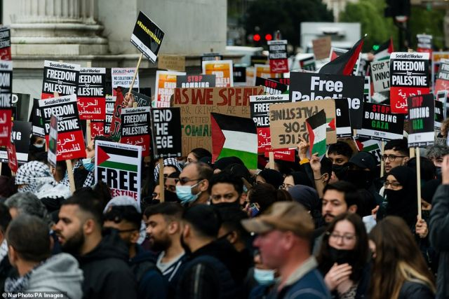 Crowds brought placards out with them. Signs read 'Freedom for Palestine' and 'Stop bombing Gaza'