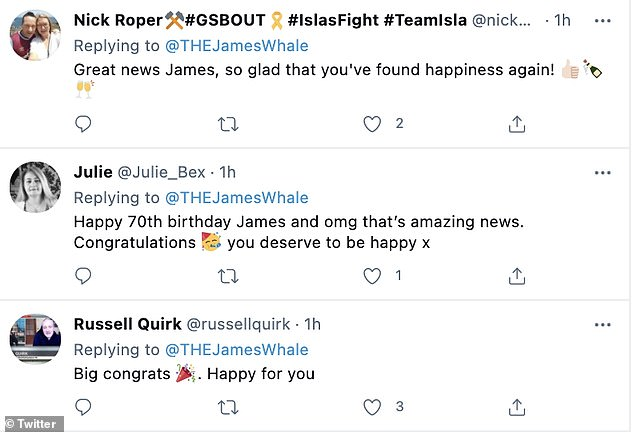 Best wishes: Several of James' followers sent their congratulations after sharing the news
