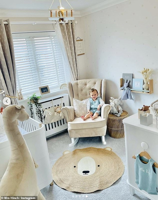 Beautiful: Sophie shared a series of snaps of her adorable son enjoying his soon-to-be brothers nursery with her 4.1 million followers