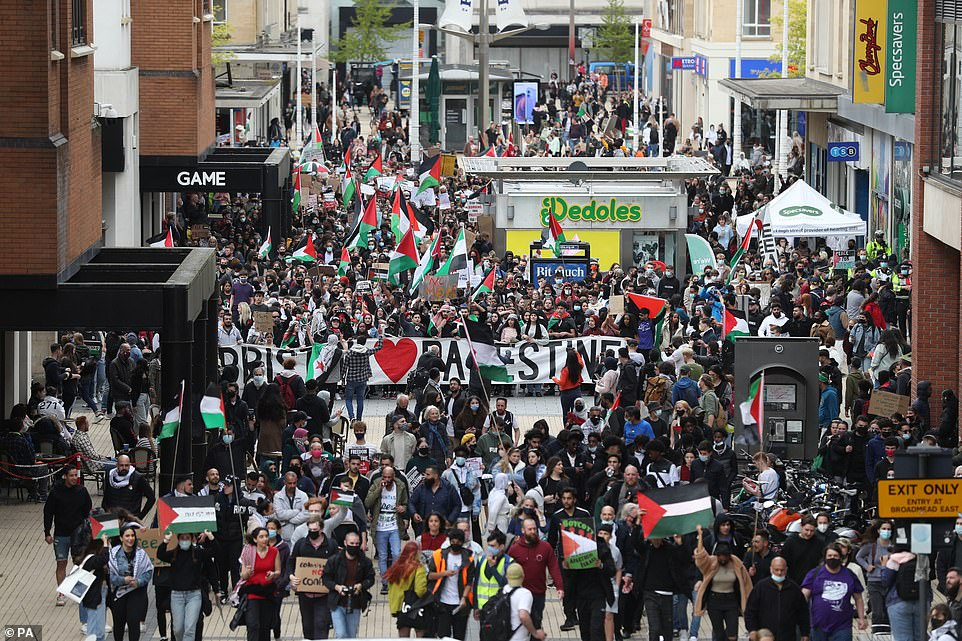 Demonstrators on Broadmead in Bristol during a march in solidarity with the people of Palestine