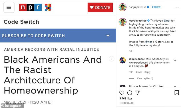 Cullors shared an NPR story about black home ownership rates on her Instagram with a caption explaining her own thoughts