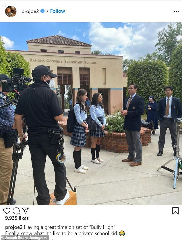 Following in father's footsteps: By Saturday afternoon, Baena took to Instagram to share a few photos taken on the set of the upcoming film Bully High