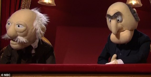 True to form:As Kermit the Frog attempted to do his schtick the famous opera box puppets Statler and Waldorf repeatedly heckled him about how lousy his performance was