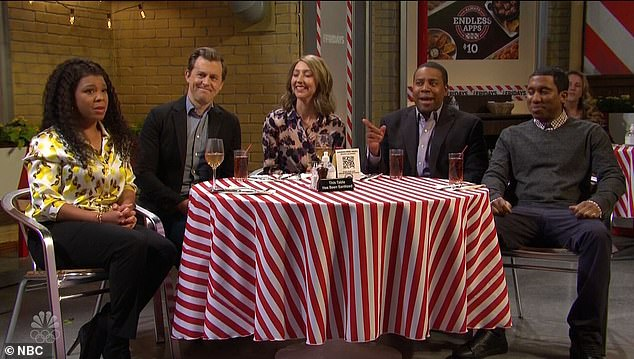Rough time:A sketch later Kenan is playing a birthday boy at dinner with friends at T.G.I. Friday's - where he reveals to them that his wife Lisa left him that day