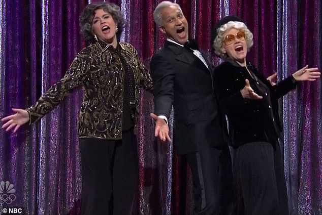 Song and dance man:Keegan returned to the stage for a parody of old Broadway tributes - specifically a Kennedy Center salute to George Gershwin