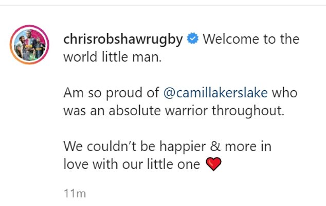 Proud Dad: Chris posted the same heartfelt message