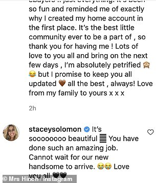 BFF: Stacey Solomon commented under the stars post to congratulate her close friend on the 'amazing job' and to share her excitement for the arrival of baby number two