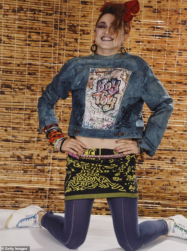 Close friend: Madonna is shown in 1984 wearing the Keith Haring skirt in New York City